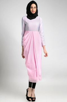 Dewi Agni Drappery dress | dhievine for hijabenka | lace gamis