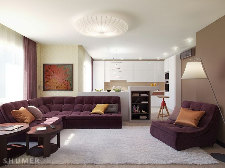 Plum white taupe living room scheme: love the couch designs...no more losing things b/w sofa cushions! & looks sooo comfy.
