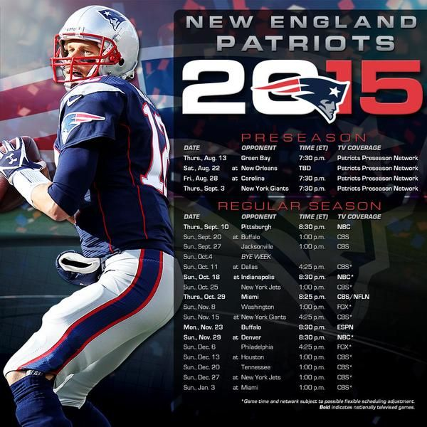 The New England Patriots Schedule