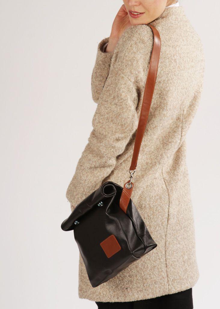 "Leather Crossbody Bag ""Chandler Black"", Black Crossbody Bag, Leather Crossbody Purse, Cross Body Bag on a Strap"