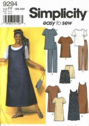 Simplicity Sewing Pattern 9294 Easy-to-Sew Women's dress or tunic, top, jumper and pants or shorts. Description from moonwishesstore.ecrater.com. I searched for this on bing.com/images