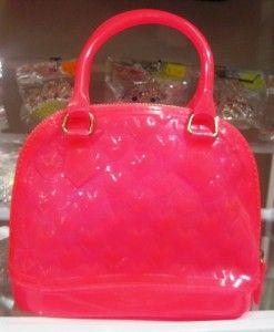 Girls Hot Pink Textured Jelly Handbag