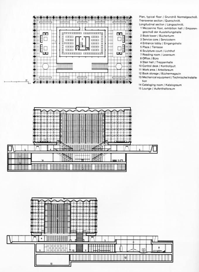 Sections and first floor plan. Beinecke Rare Book and Manuscript Library Skidmore, Owings, & Merrill.