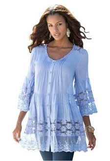 Roamans Womens Plus Size Illusion Lace Bigshirt Blue