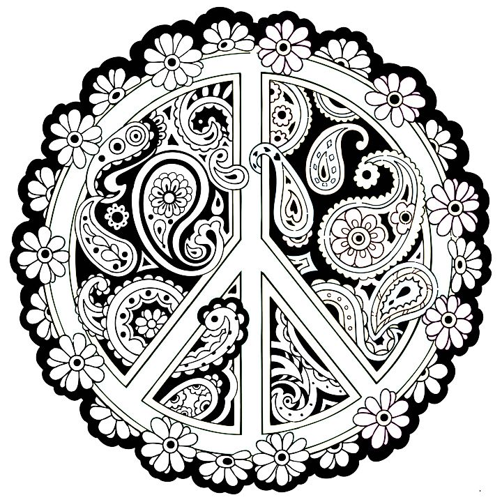 165 best peace images on pinterest colouring pages for Peace sign mandala coloring pages