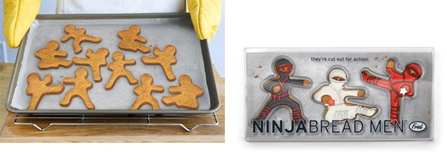 Run for the cookie jar Gingerbread Man, these stealthy warriors are set to infiltrate the kitchen and stage a cookie coup!  While they're cut out for delicious action, we promise they'll disappear as soon as they come out of the oven.  Food-safe ABS plastic. Box measurements 10 6/16 inches x 4 3/4 inches  x 1 inch. Comes packaged in a colorful gift box.