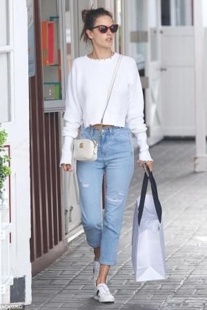 6591ee468e5 Alessandra Ambrosio wearing Gucci Gg Marmont Camera Bag in Mystic White.  from  alessandraambrosio daily s closet