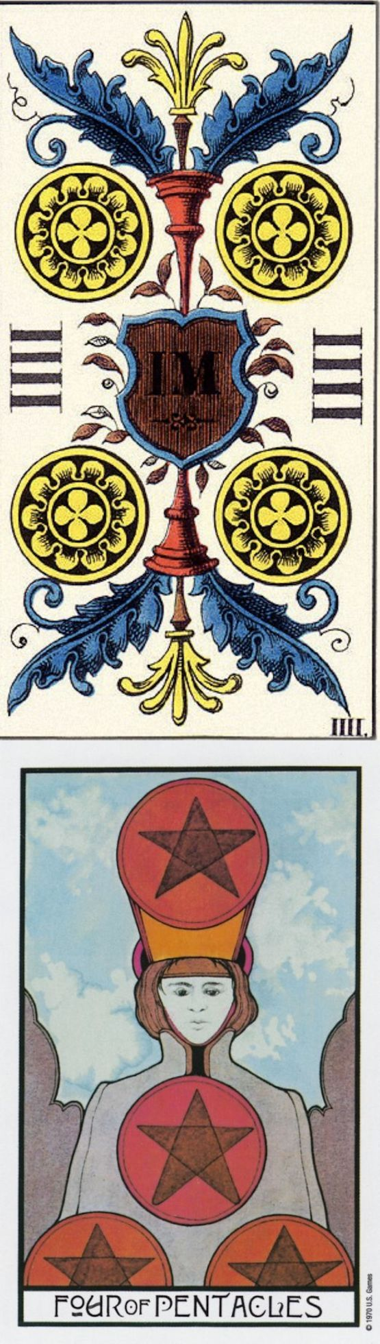 Four of Pentacles: frugality and stingy (reverse). JJ Swiss Tarot deck and Aquarian Tarot deck: free one card tarot, tarotbook lot and yes no answer. Best 2018 tarot decks cards and tarot reading tips. #tarot #wands #witchcraft