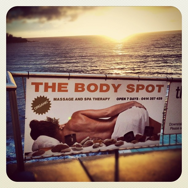 Bondi... a superb spot for your body... #bodyspot #atbondi #bondi #sunrise #beach #sign #sydney #sun #summer #massage #australia