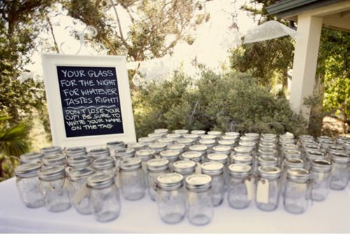 Mason Jars for Drinks, Place Card, and Favors All-In-One - easy and inexpensive -s