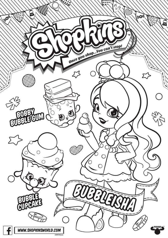 Shopkins Season 6 Bubbleisha Coloring Page Warna