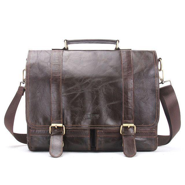 CONTACT'S 2017 Men Retro Briefcase Business Shoulder Bag Leather Handbag Bag Computer Laptop Messenger Bags Men's Travel Bags