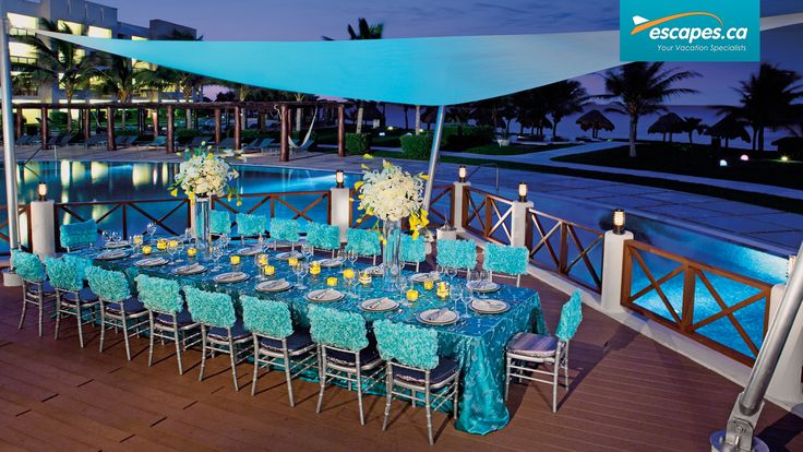 The wedding set up at the Secrets Silversands.  For more information about the Secrets Silversands or to book your vacation to the Riviera Maya, speak to one of our Vacation Specialists today at 1-888-685-6888 or read our blog for more: http://ow.ly/G8EKY