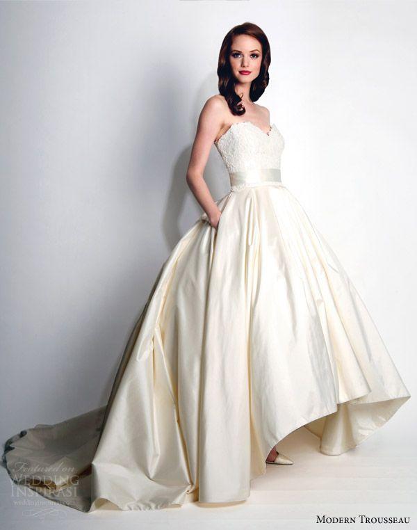 modern trousseau wedding dresses fall 2015 honor strapless ball gown high low hemline skirt