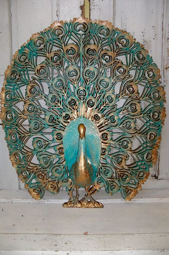 Large Vintage Wall Decor : Large peacock vintage crested burwood wall decor