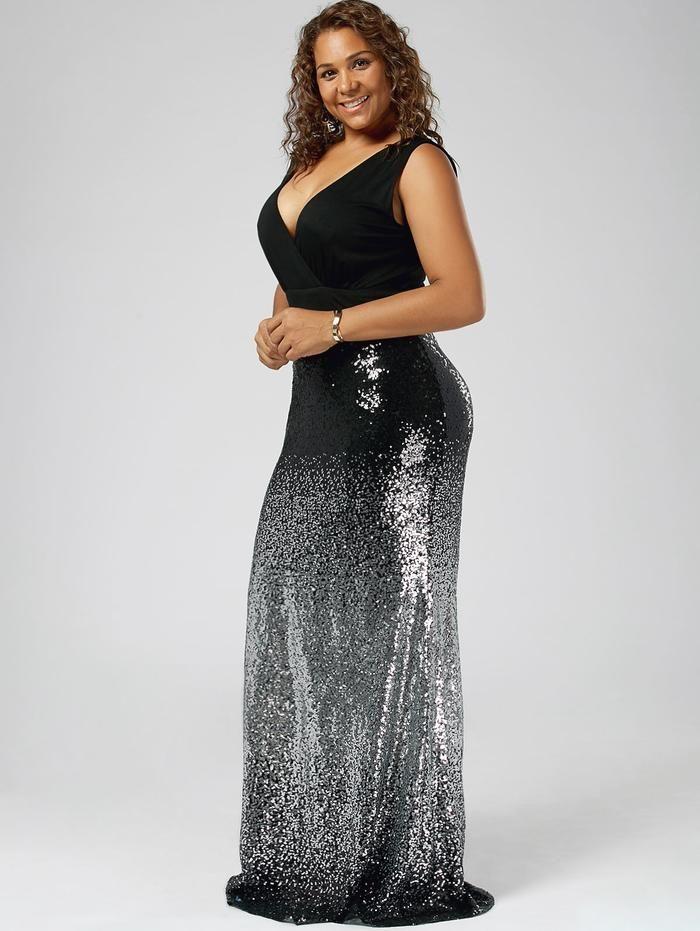 b9658b9e9230 Plus Size Sequin Sleeveless Fishtail Long Maxi Dress | Dena's ...