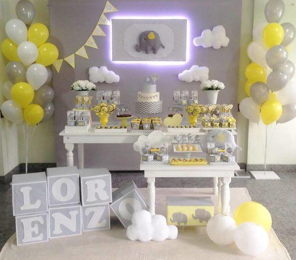 Olha que linda decoração de festa com o tema elefantinho, é também uma boa proposta para chá de bebe ou chá de fralda