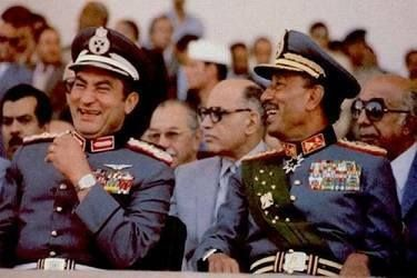 MUBARAK AT THE VICTORY PARADE CELEBRATING EGYPT'S CROSSING OF THE SUEZ CANAL (1981)