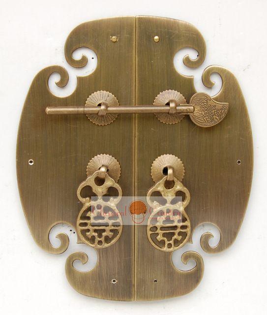 """Armoire de meubles chinois Vintage ferrures en laiton pour le visage plaque de cuivre tirer la poignée 6.9 """""""