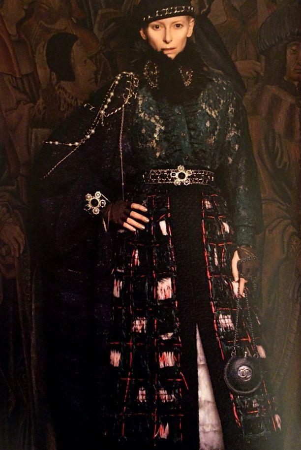 Tilda Swinton Chanel Paris-Edinburgh 2013 Campaign AD SCOTAND SCOTTISH PLAIDS lace embellished woolknit dress jacket hat chain chain belt sheer fingerless gloves chain round cc bag KARL LAGERFELD