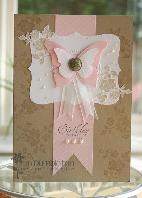 handmade card ...kraft base ...  white and pink additions ... pearls, netting, ornate brad, die cuts ... lovley!!