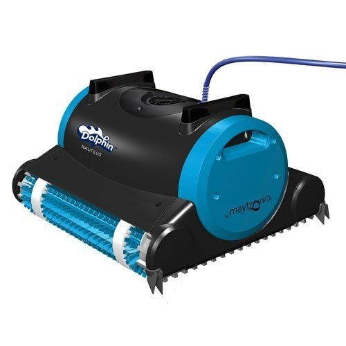 Dolphin Nautilus Robotic Pool Cleaner - Scrubs, vacuums and filters, all pool surfaces - pool floor, cove and walls. Comes with easy-to-clean filters - a cartridge filter to remove the dirt from the pool, and a spring clean up filter for heavy leaf and debris. Patented, 60 ft. long swivel cable, helps prevent tangling. Easy-to-use, with exceptional performance, recommended for pools up to 50 ft. in length.