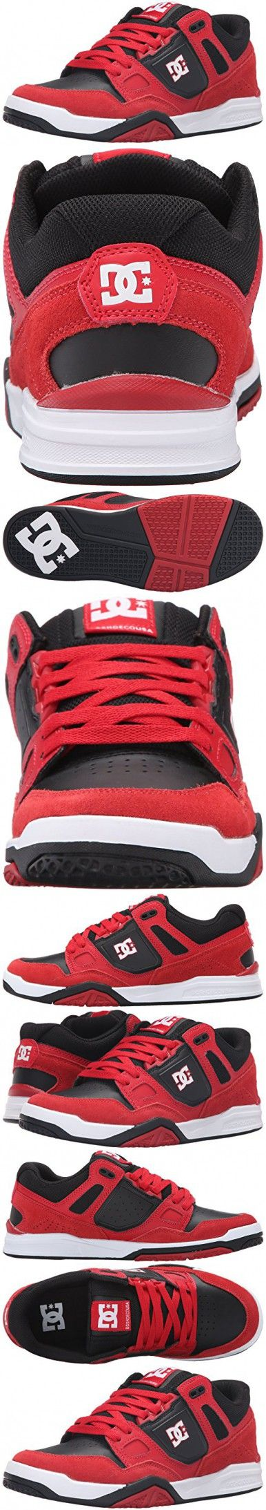 DC Men's Stag 2 Skate Shoe, Red/Black, 8.5 M US