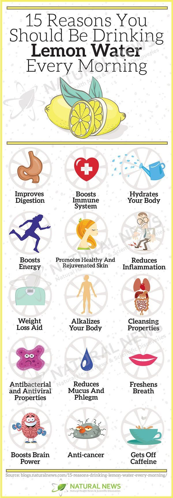 15 Reasons to Drink Lemon Water in a.m.  Just be sure to wait at least 30 minutes before consuming anything else.  I use 1/2 lemon squeezed into 8 oz. Warm water.