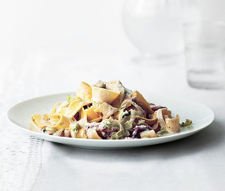 Creamy Pappardelle with Leeks and Bacon Recipe  | Epicurious.com