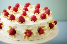 Lorraine Pascale's raspberry, vanilla and white chocolate cake with almond flowers