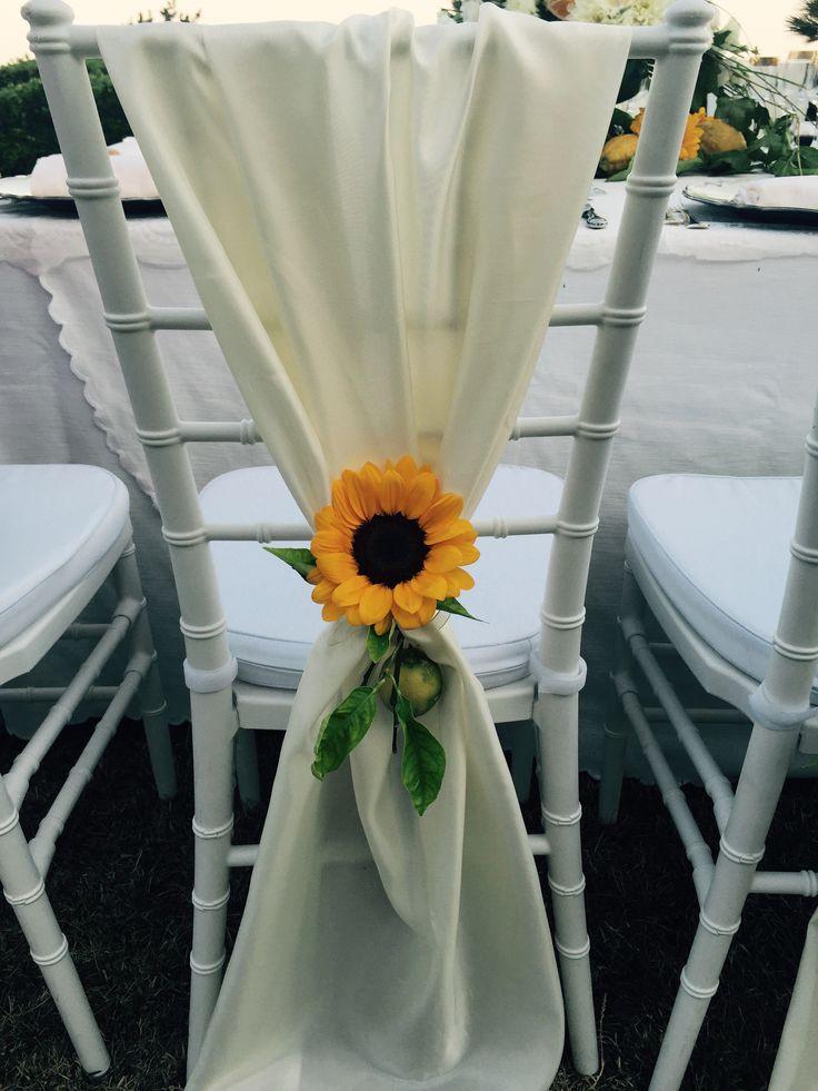sunflower, white cover chair, Sant'Eustachio, Villa Minuta, Scala, White, Yellow and Orange colors, Olga Studio, Sposa Mediterranea, Federica wedding Planner