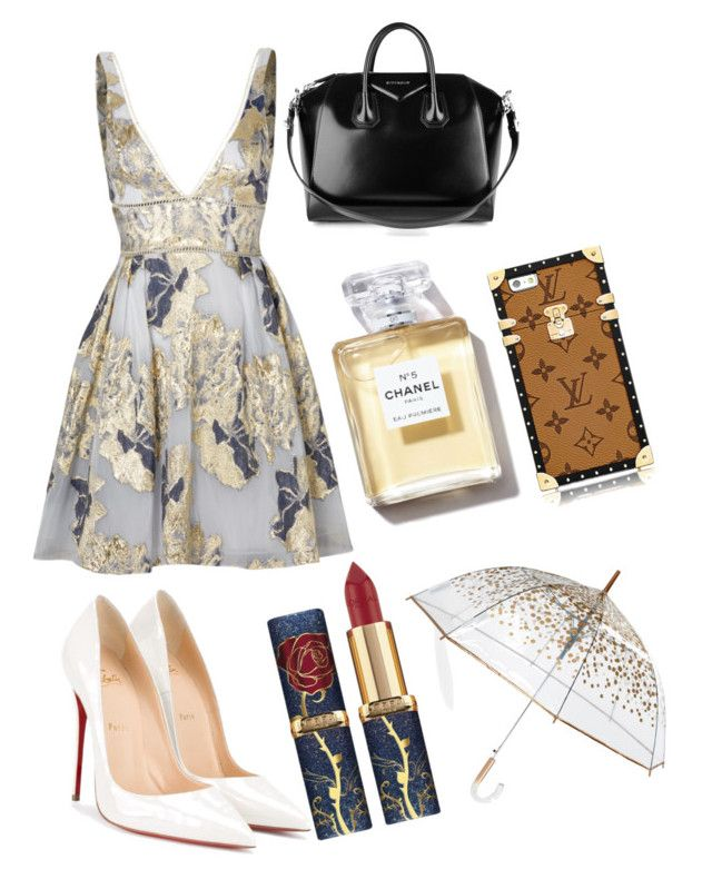 """Blair Waldorf Inspo"" by girlyemmaclare-1 on Polyvore featuring Notte by Marchesa, Christian Louboutin, Givenchy and ShedRain"