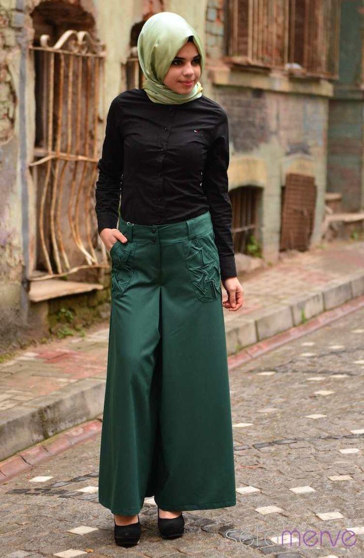 ZemZem Pantolon Etek Modelleri 0817-04 Yeşil