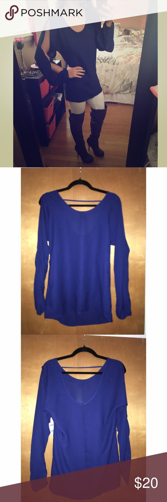 Royal Blue Blouse Long sleeve royal blue Blouse with two openings on the arms and scoop neck and back Tops Blouses