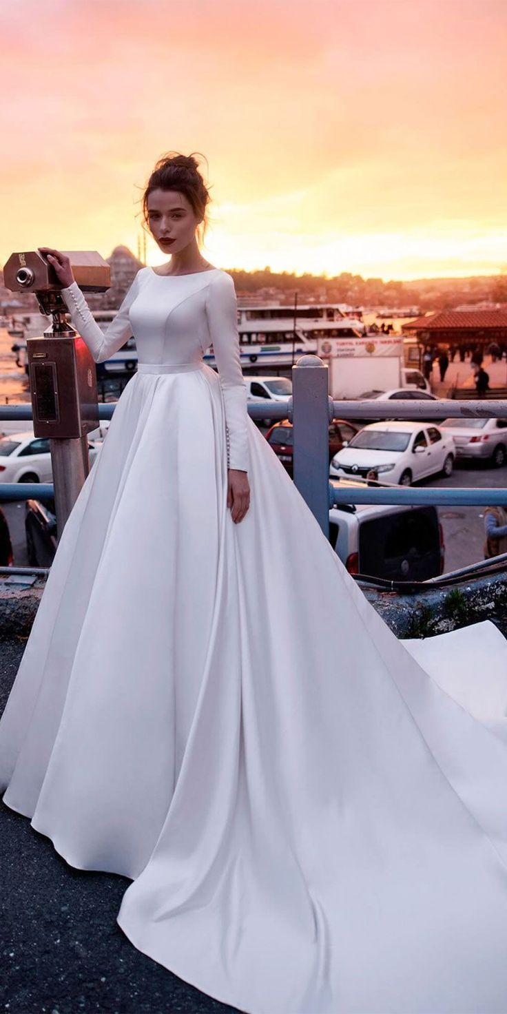 Simple Round Neck Long Sleeves Deep Open Back Ball Gown Wedding
