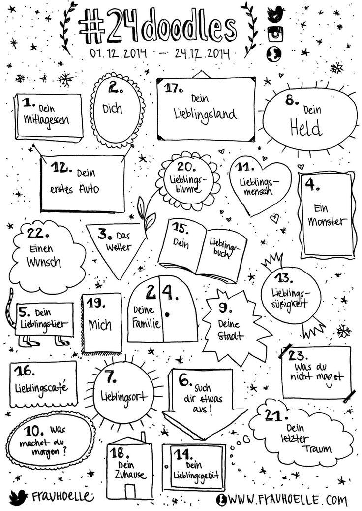 24 Tage bis Weihnachten = 24 Sketchnote Symbole zum Üben! Macht mit und gewinnt ein #sketchattack Starterkit.