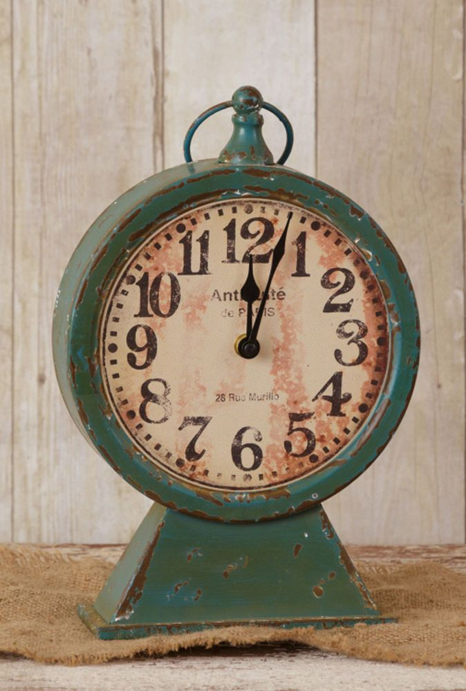 RUSTIC Metal PEDESTAL CLOCK FARMhouse French Country Teal Mantel Shelf Clock #Unbranded #FrenchCountry
