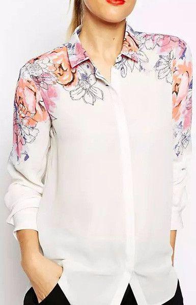 Floral White Chiffon Blouse – Trendy Road