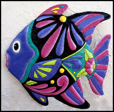 """Hand Painted Metal Tropical Fish Wall Art - Outdoor - Indoor Decor - 24"""" x 24  - Tropical Design, Tropical Decorating, Tropical Home Decor, Metal Wall Art, Haitian Steel Drum Art, Garden Decor  -   See more handcrafted metal tropical designs at www.TropicAccents.com"""