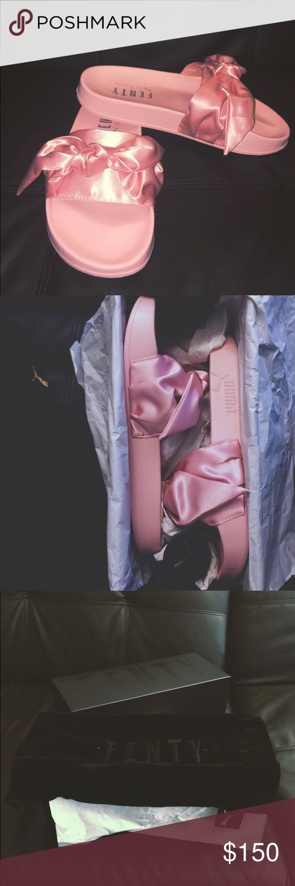 Pink Fenty Bow Slides by Rihanna NEVER BEEN WORN PRICE IS NEGOTIABLE! Women's size 6.5, Men's 5.5. Bought it from the official PUMA website before they sold out. Your purchase will come with the FENTY shoe bag and the box. Puma Shoes Slippers