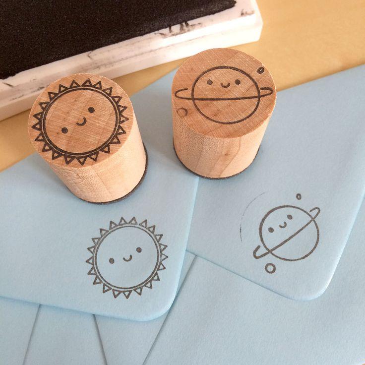 2 Polymer Stamps - Kawaii Sun & Planet (10.00 GBP)