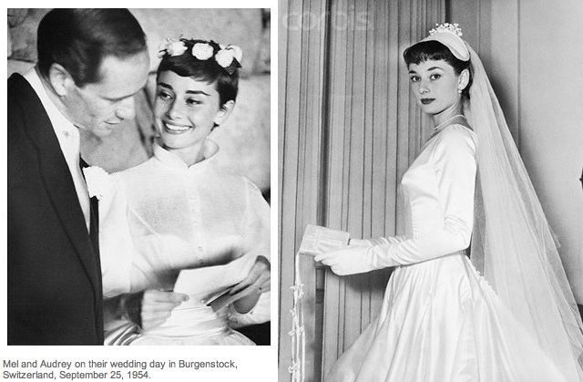Audrey Hepburn -- a pixie-cut bride! Shown with a floral crown and with a full veil