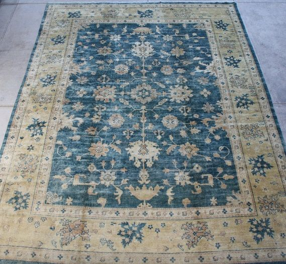 Oushak Rug With Blue And Light Gold Border