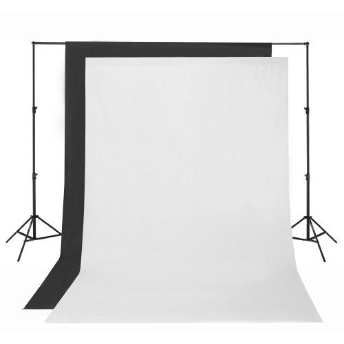 Square Perfect SP2750 Premium Professional Quality Photography Backdrop Stand with White & Black Muslins | Studio lighting