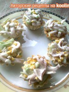 салат с кальмаром , огурцом и другими Кальмаровы нежности