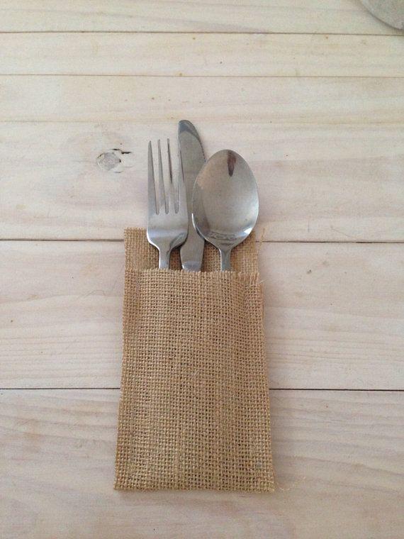 85 Hessian/Burlap Cutlery Holders by BreeWestwood on Etsy, $93.50