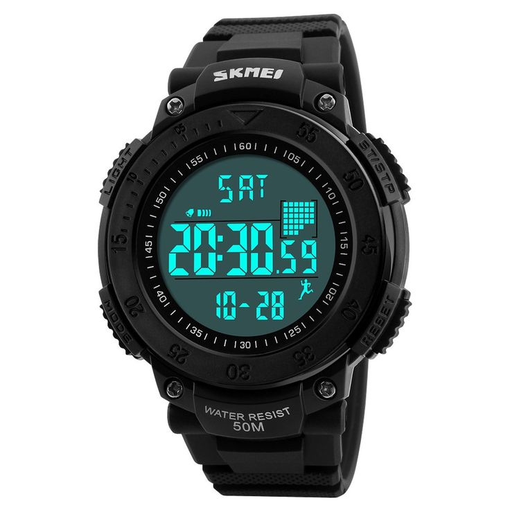 SKMEI Unisex Digital Watch Men Sports Watches Pedometer 5ATM Sale Online Shopping black - Tomtop.com