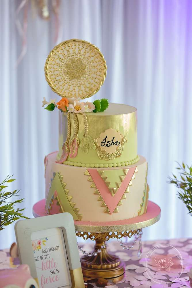 What a gorgeous dream catcher birthday cake at this  Boho Chic 1st Birthday Party!! See more party ideas and share yours at CatchMyParty.com #catchmyparty #1stbirthdayparty #bohochicbirthdayparty #cake