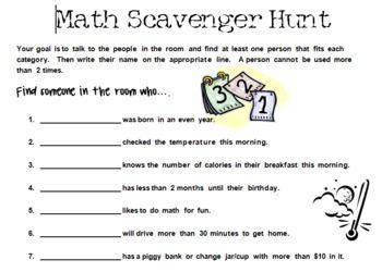 Math Scavenger Hunt Worksheet High School - scavenger hunt ideas ...