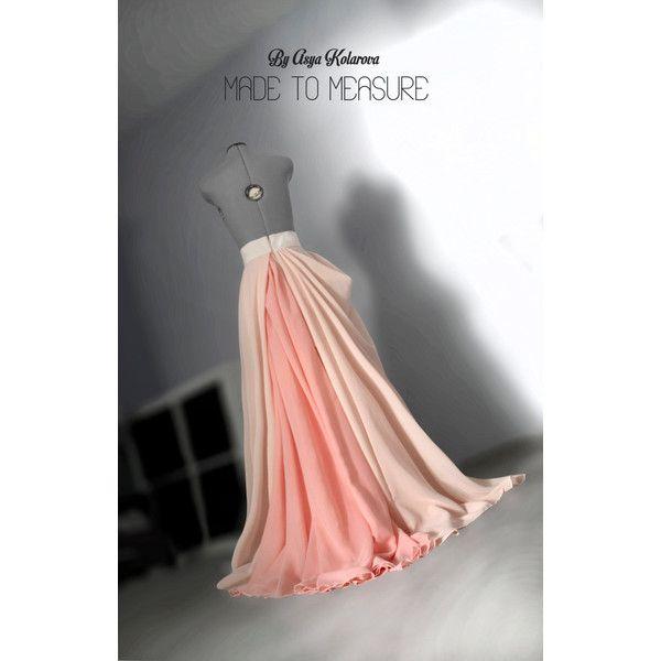 Chiffon maxi circle skirt Full wedding gown Peach blush flowing dress... ❤ liked on Polyvore featuring dresses, long flared skirt, chiffon maxi dress, long prom dresses, long bridesmaid dresses and prom dresses